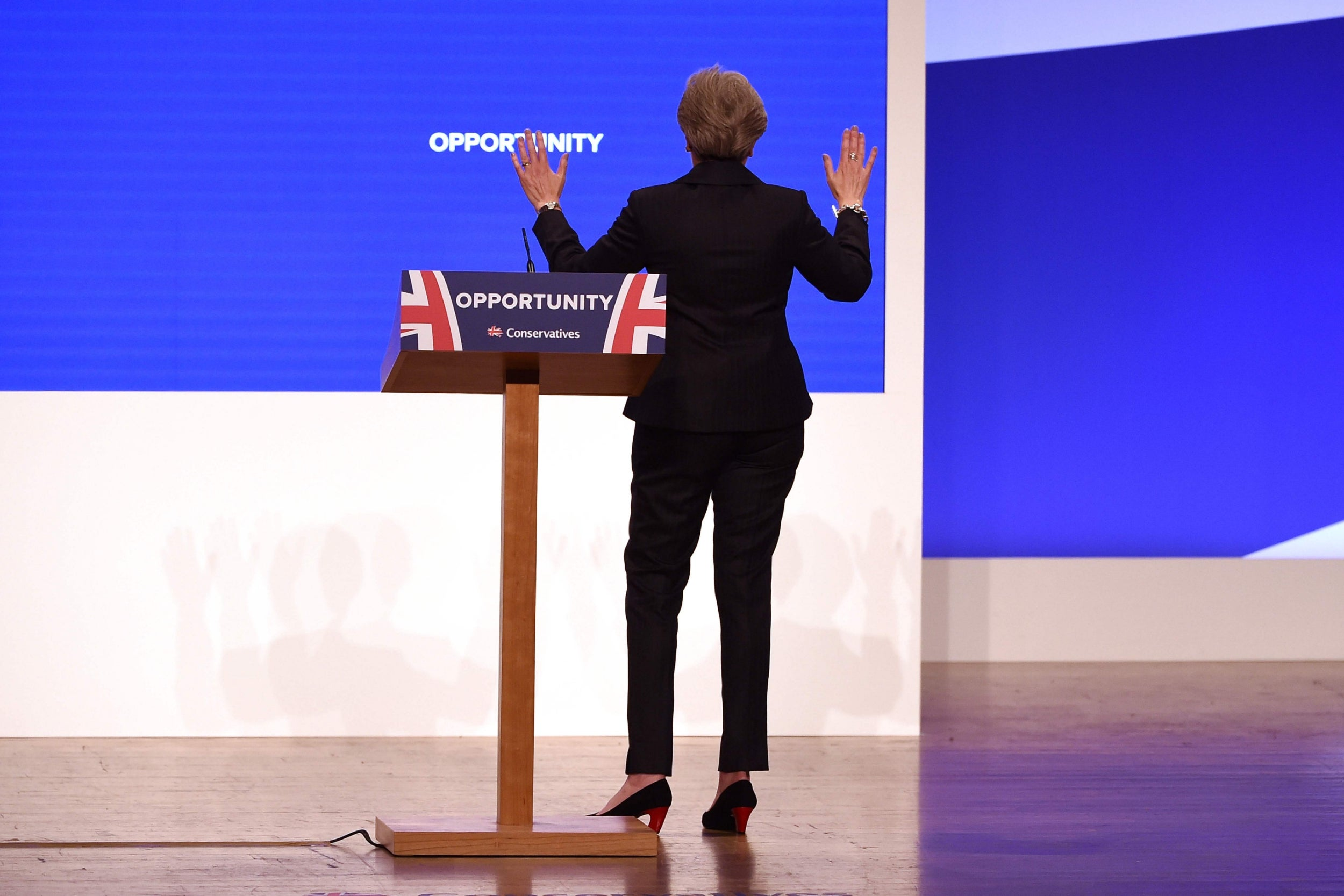 Theresa May dances on to stage for major conference speech