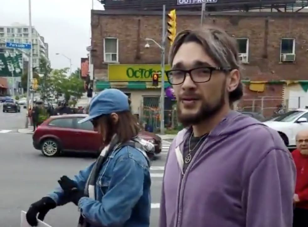 A man identified as Jordan Hunt was filmed kicking a pro-life protester in Toronto, Canada, on 30 September 2018