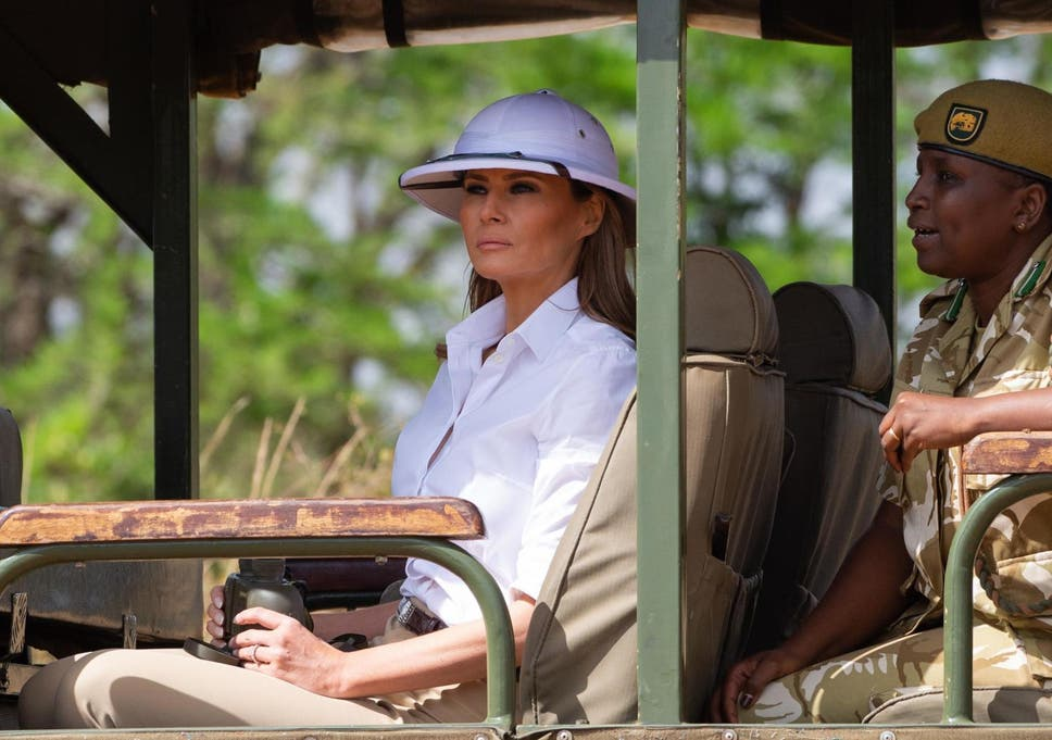 Melania Trump criticised for wearing  colonial  pith helmet in Africa b48d92553ff