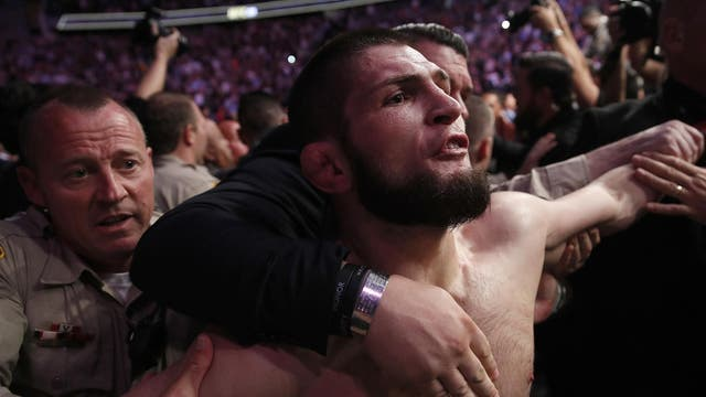 Khabib climbed the cage and attacked a member of McGregor's entourage after defeating the Irishman with a fourth-round submission