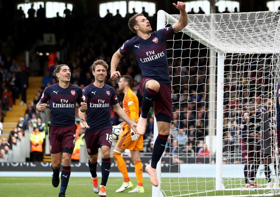 Aaron Ramsey Celebrates Scoring Arsenals Third Goal Against Fulham