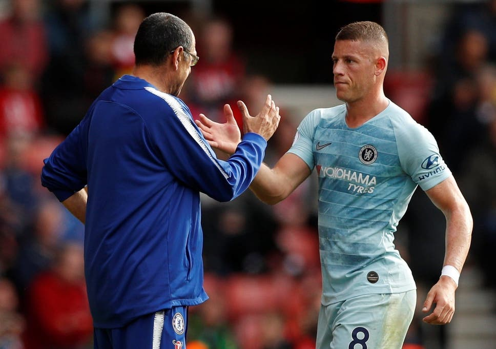 check out 1f952 d4588 Ross Barkley gets a handshake from his manager