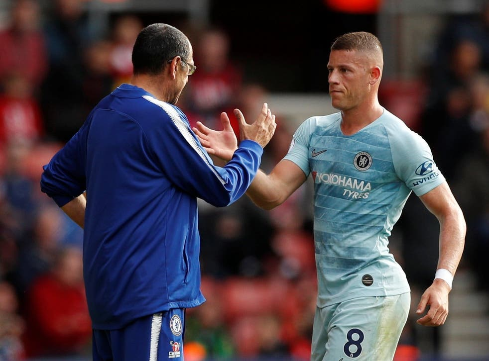Ross Barkley gets a handshake from his manager