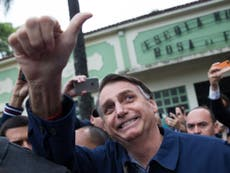 Far-right candidate Jair Bolsonaro wins first round of Brazil election