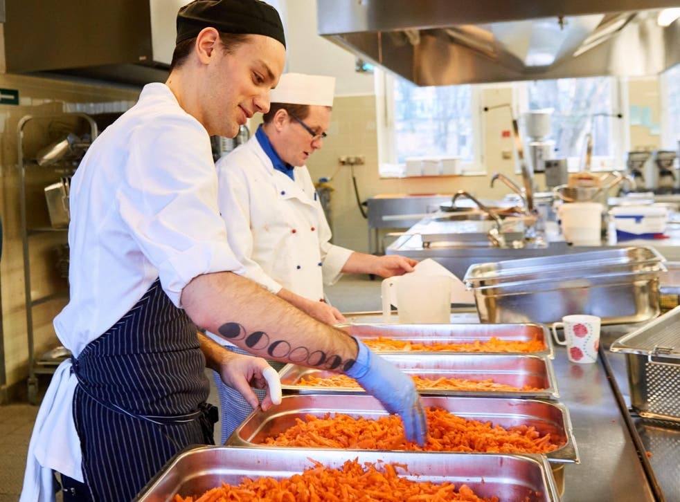 Chef Patrick Wodni helps prepare one of his many healthy dishes at Havelhöhe hospital