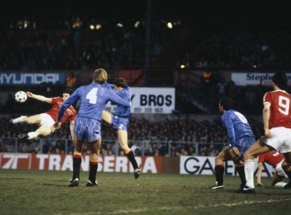Mark Hughes scores for Wales with a spectacular volley