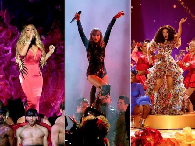 Mariah Carey, Taylor Swift and Cardi B at the AMAs