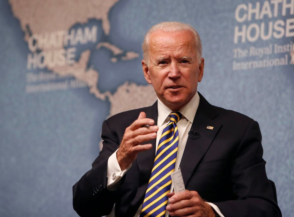 <p>Joe Biden takes a Q&A session after his speech in London</p>