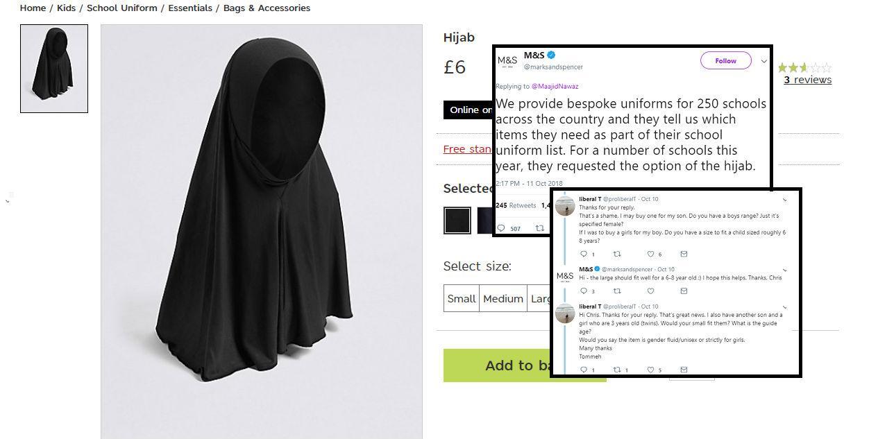 Backlash as Marks & Spencer release school uniform hijab
