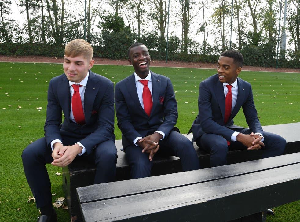 Arsenal's Emile Smith Rowe, Eddie Nketiah and Joe Willock