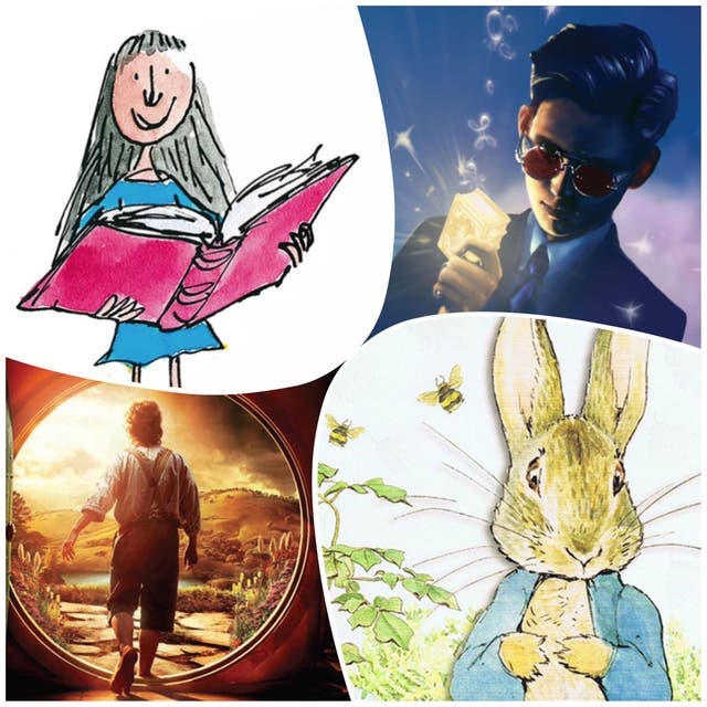 <p>Clockwise from top-left: Matilda, Artemis Fowl, Peter Rabbit, The Hobbit</p>