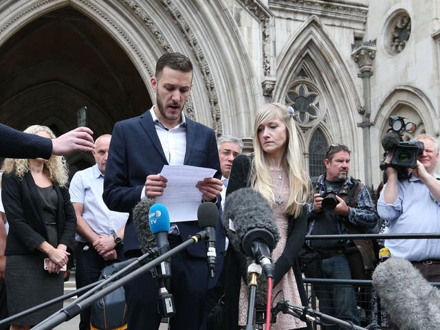 Charlie Gard's parents Chris Gard and Connie Yates speak to the media outside the High Court, London, after they ended their legal fight over treatment for the terminally-ill baby