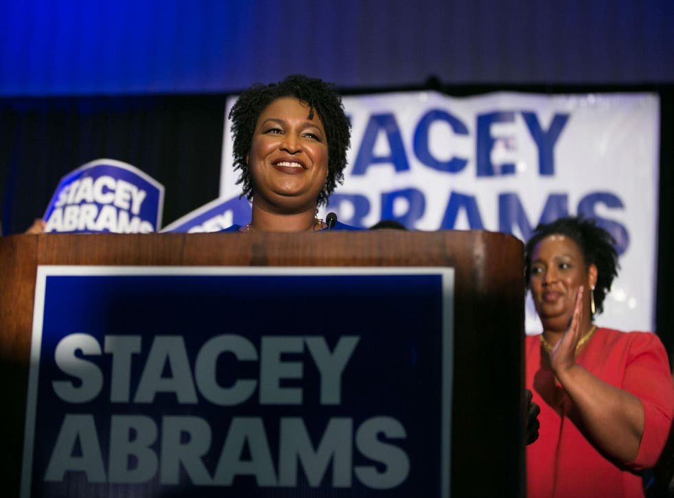 Stacey Abrams at the podium