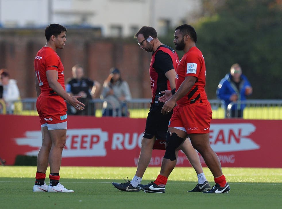 Billy Vunipola left the field with an arm injury