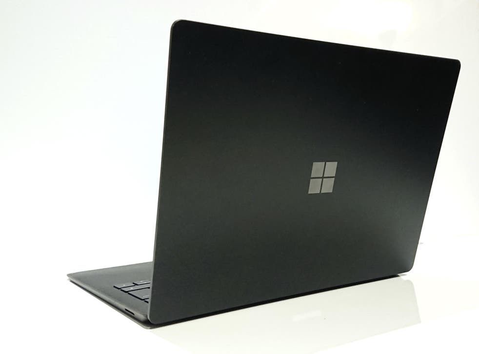 The sleek, ultraportable design of the Microsoft Surface Laptop 2 features a matte black aluminium body