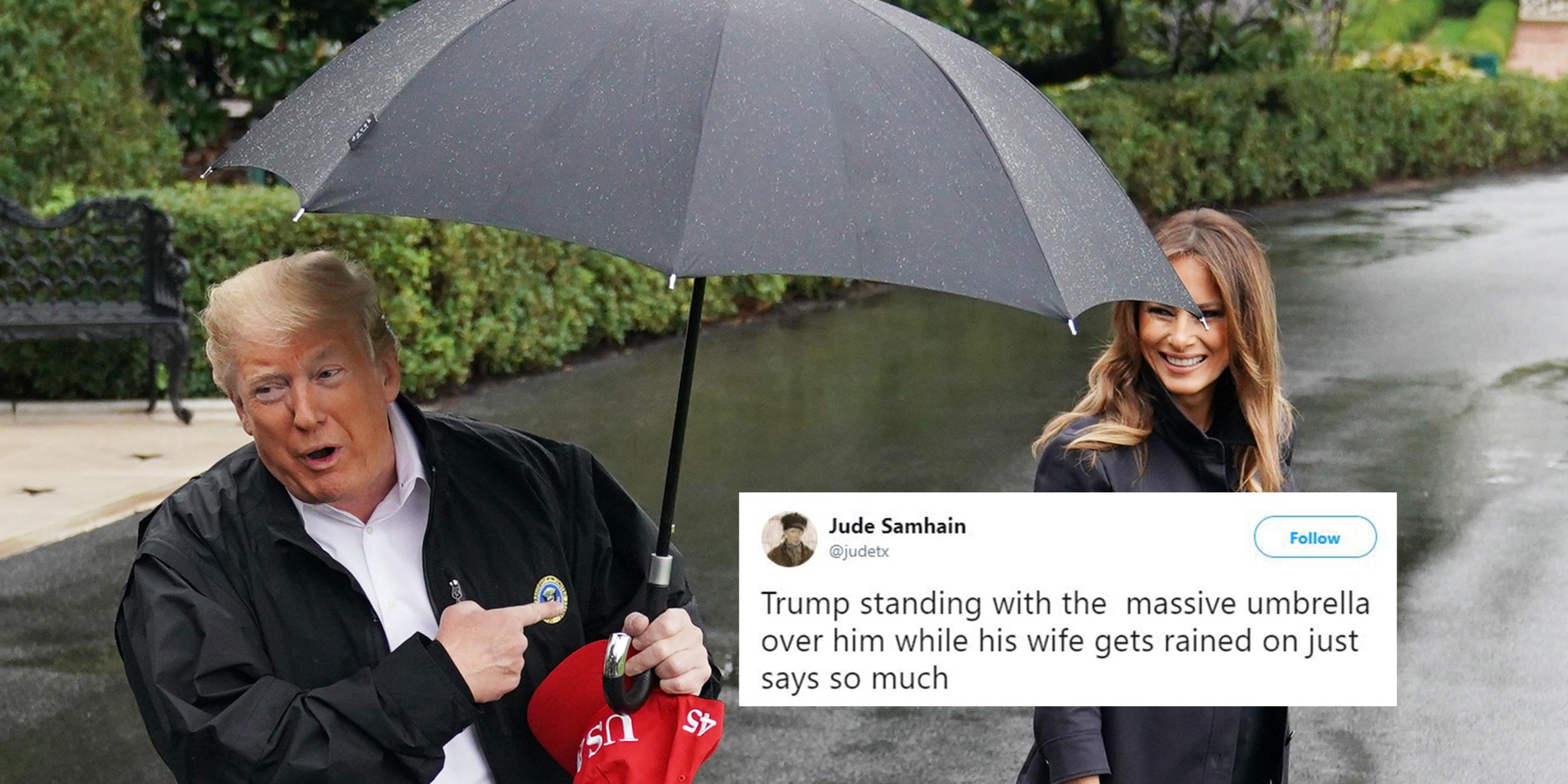Image result for Trump and his wife Georgia and Florida. Umbrella