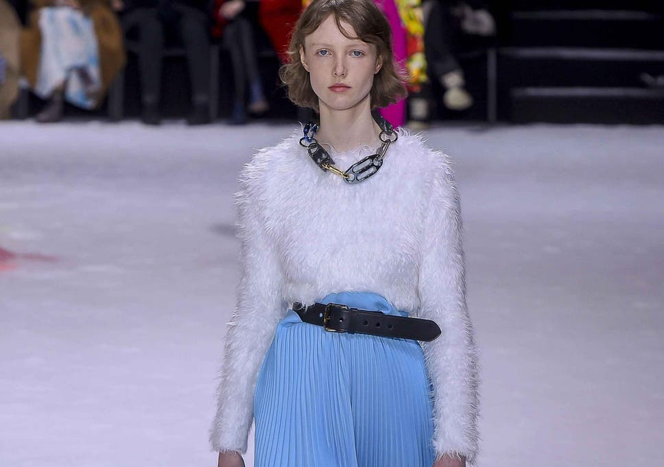 e565fae8291a Balenciaga paired pleated skirts with fluffy jumpers for autumn/winter 2018