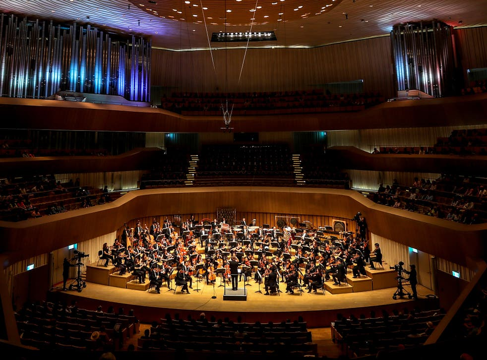 The placid atmosphere of the classical music concert in Malmo was shattered by a brawl at the end