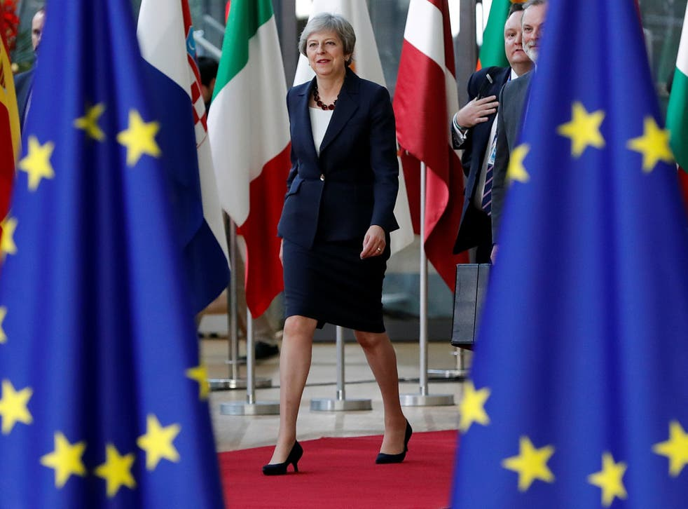 Theresa May arrives at the European Council summit in Brussels