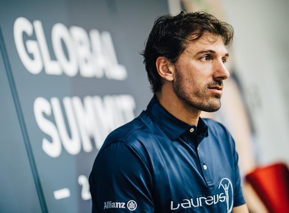 Fabian Cancellara speaking at the Laureus global summit