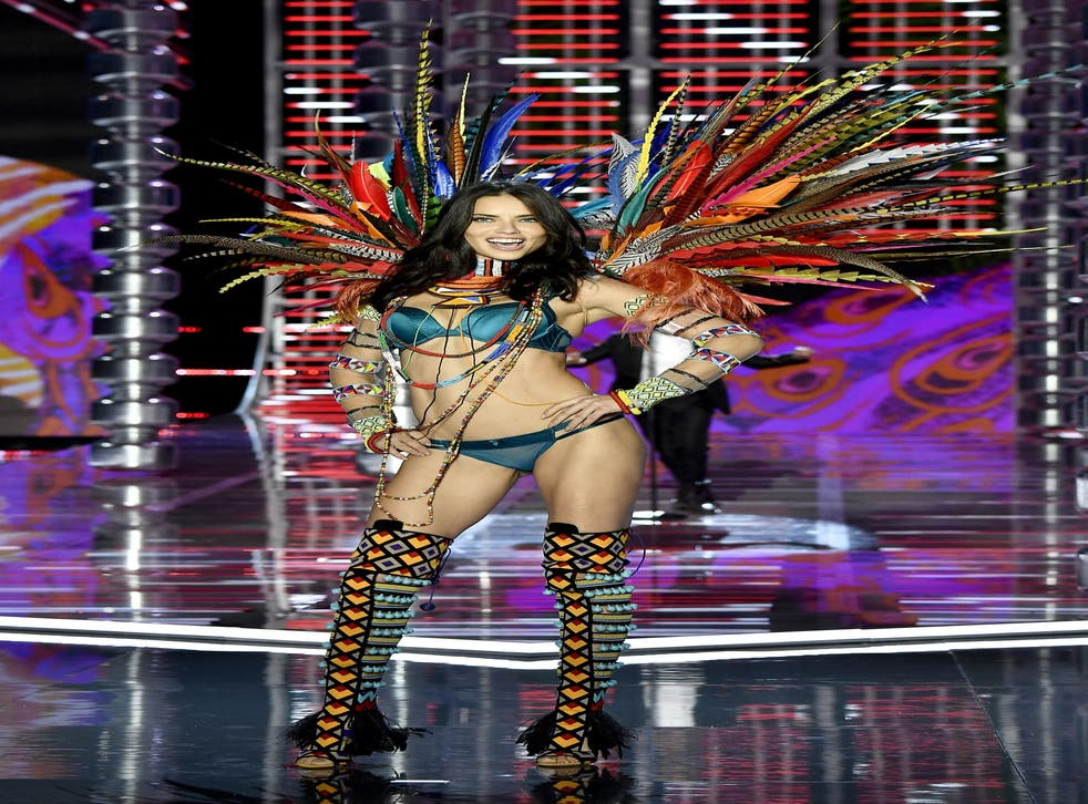 Adriana Lima pictured walking in the Victoria's Secret show in 2017, which took place in Shanghai, China.