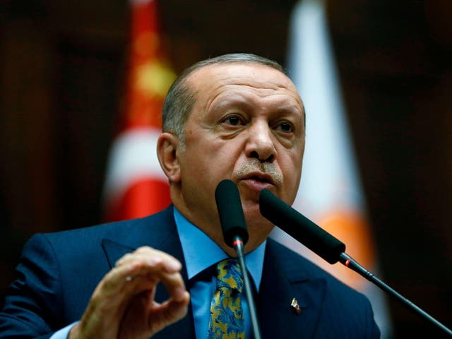 Turkish president Recep Tayyip Erdogan  speaking during his party's parliamentary group meeting at the Grand National Assembly of Turkey in Ankara