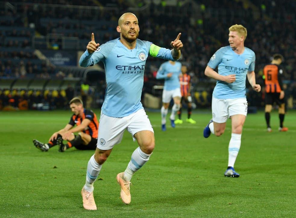 David Silva celebrates scoring City's opener