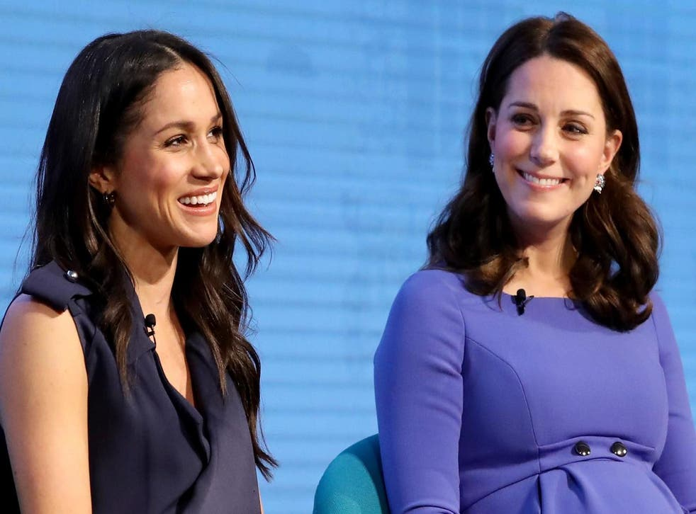 Meghan Markle and Catherine, Duchess of Cambridge attend the first annual Royal Foundation Forum held at Aviva on February 28, 2018