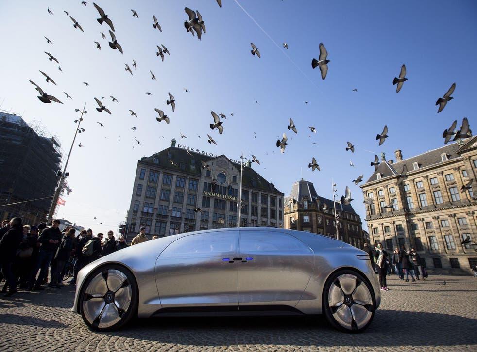 A self-driving Mercedes Benz in Amsterdam, 2016