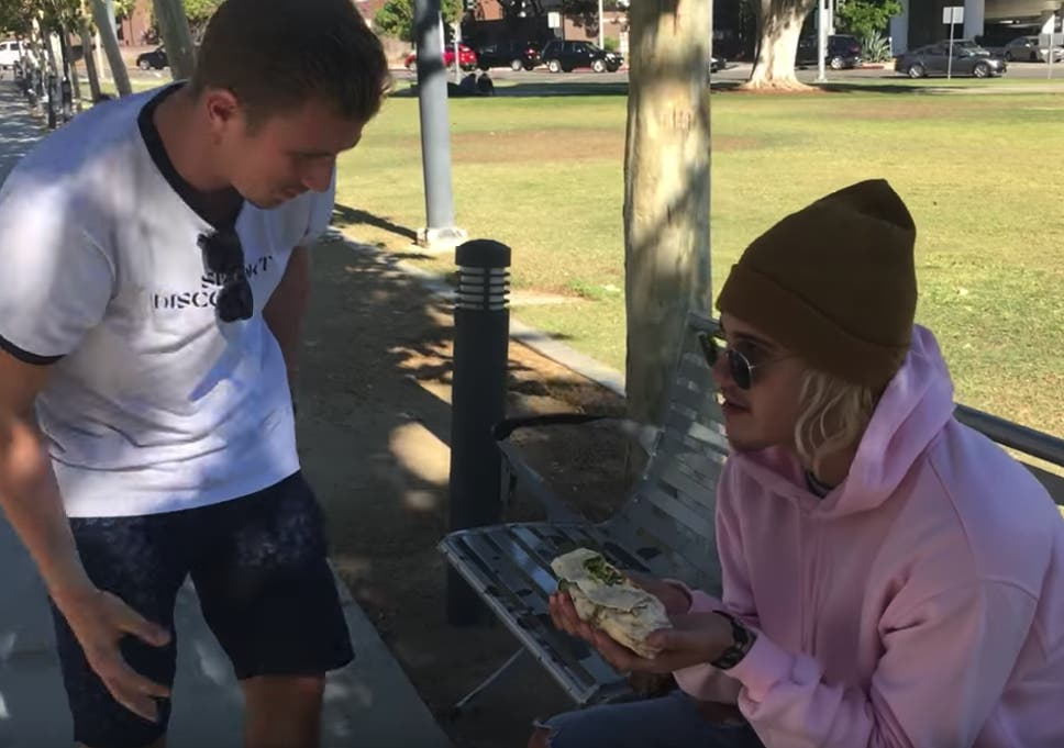 Justin Bieber  eating a burrito photo staged in viral internet prank ... 796b6220337b4