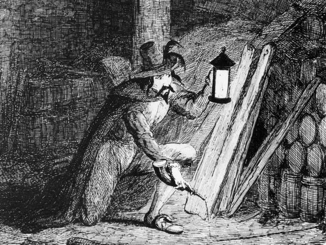 Guy Fawkes attempts to plant gunpowder in the cellar of the Palace of Westminster in an engraving by George Cruikshank