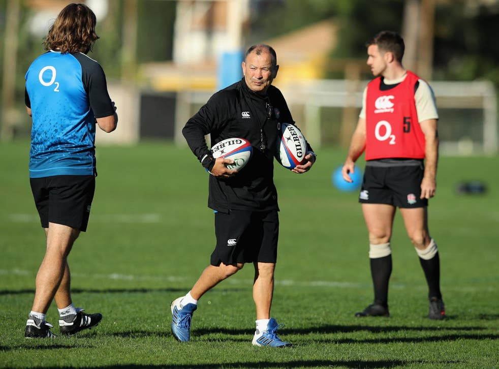 Eddie Jones in training with his England players