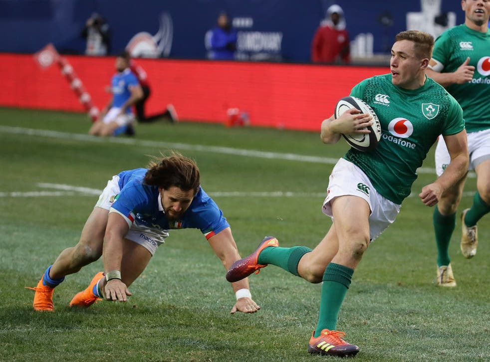 Jordan Larmour scored a wonder-try in Ireland's win over Italy in Chicago