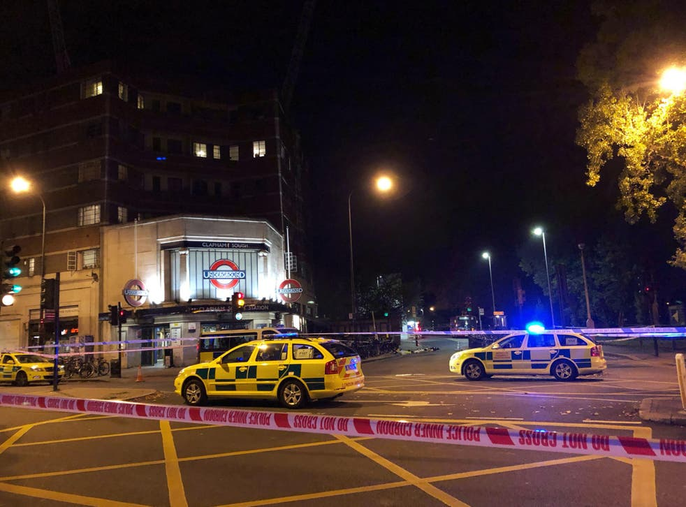 Police activity outside Clapham South tube station after Malcolm Mide-Madariola was fatally stabbed on Friday 2 November
