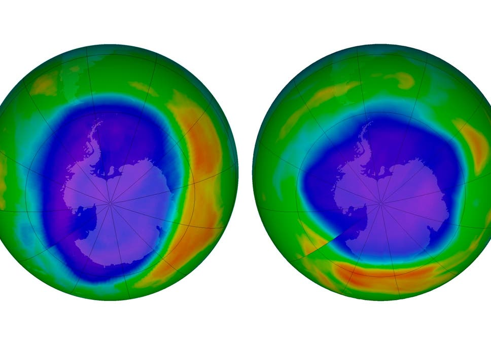 NASA images show the ozone above Antarctica in September 2000, left, and September 2018.