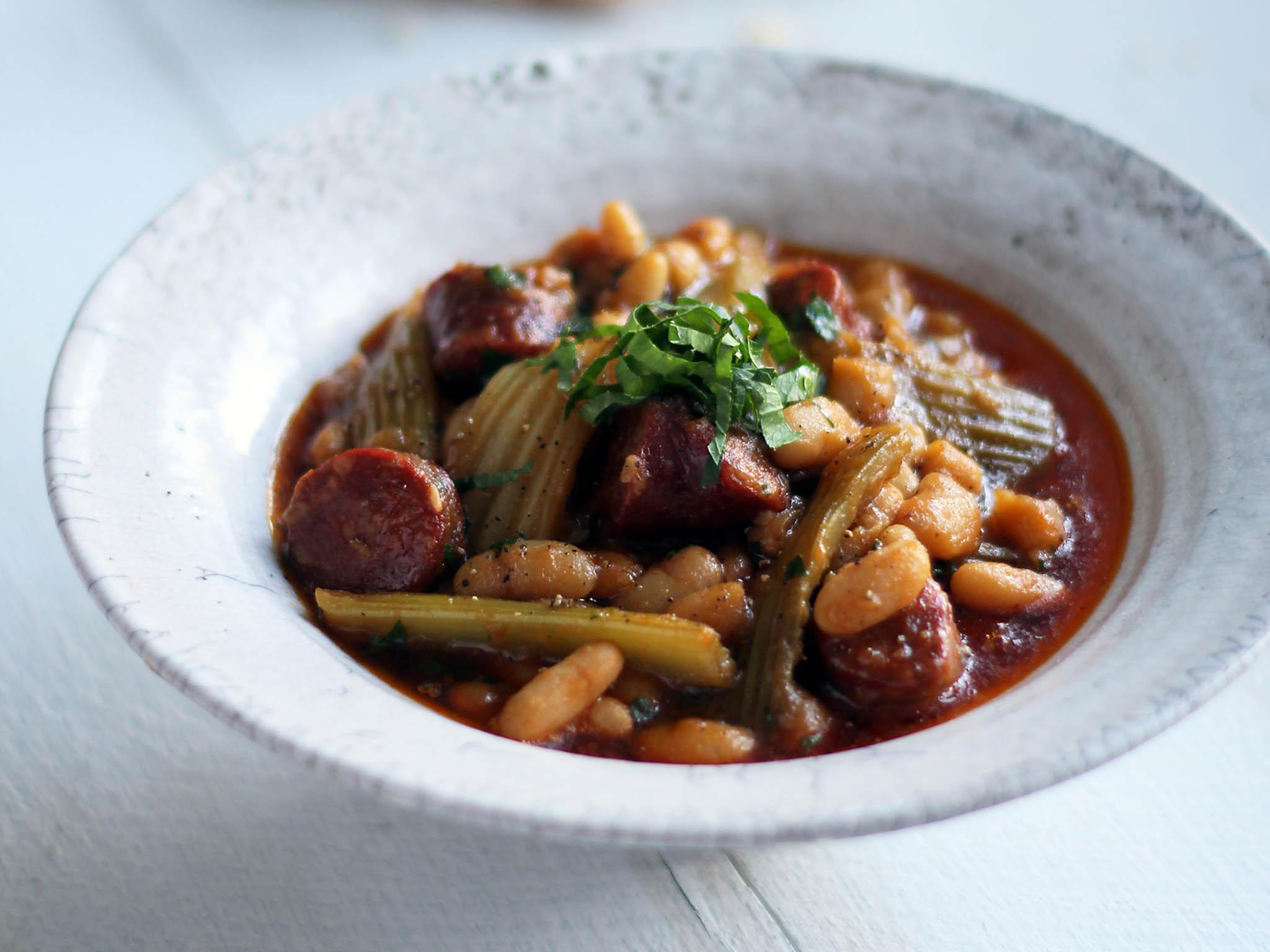 How to make winter stew of celery, chorizo and cannellini beans 1