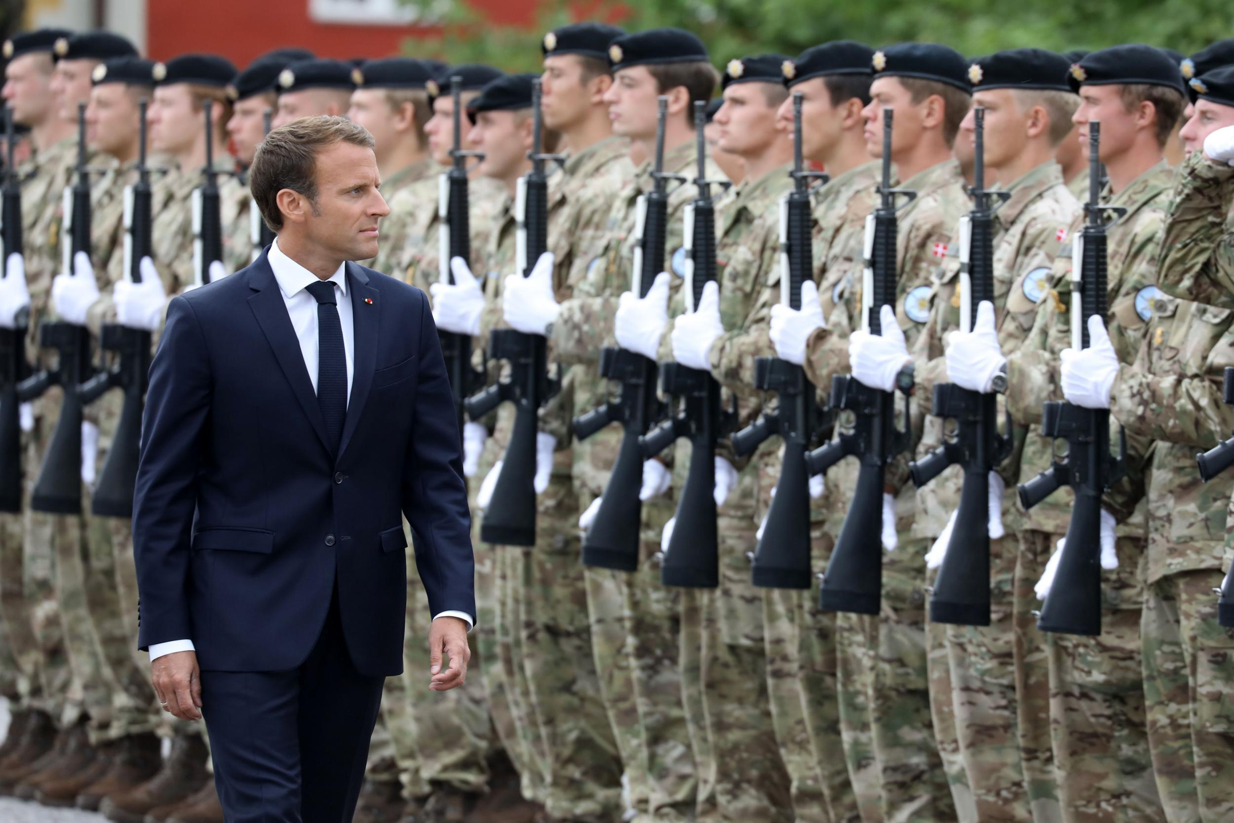 583591902f8 Emmanuel Macron calls for creation of a  true European army  to defend  against Russia and the US