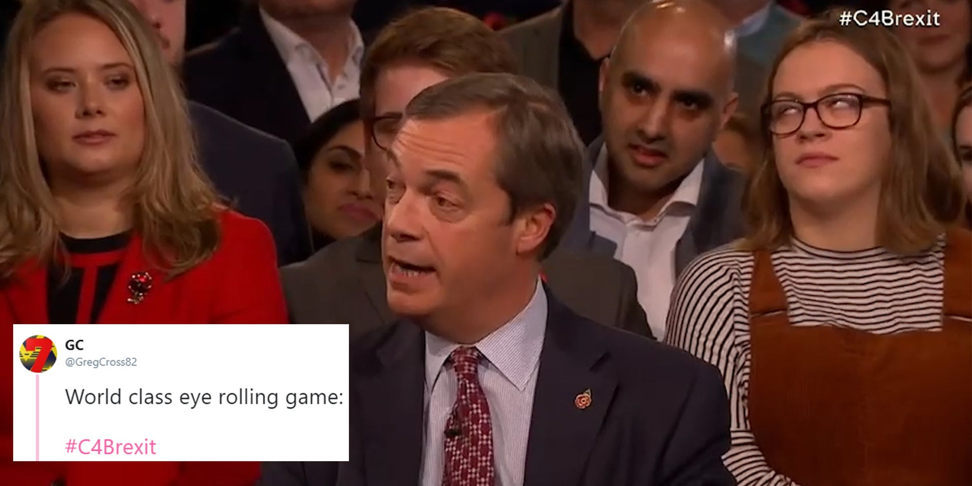 People are loving this woman's powerful eye rolling at Nigel Farage