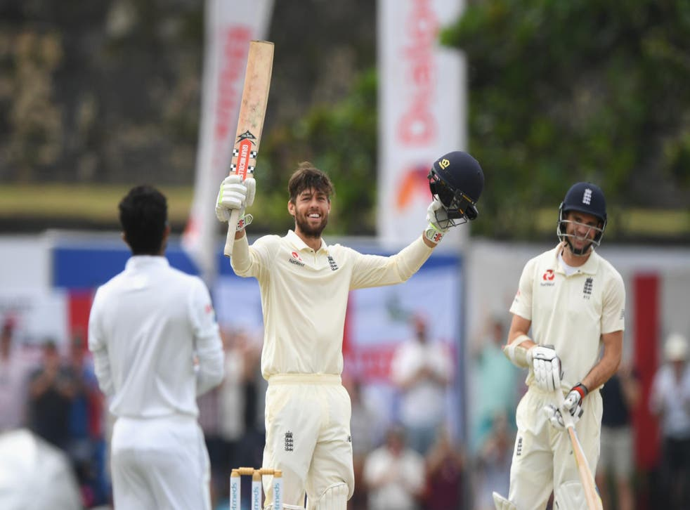 Ben Foakes celebrates a century on his Test debut for England