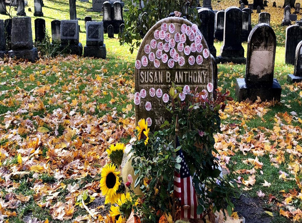 """Voters placed their """"I voted"""" stickers on the grave of suffragette Susan B Anthony in Rochester, New York"""