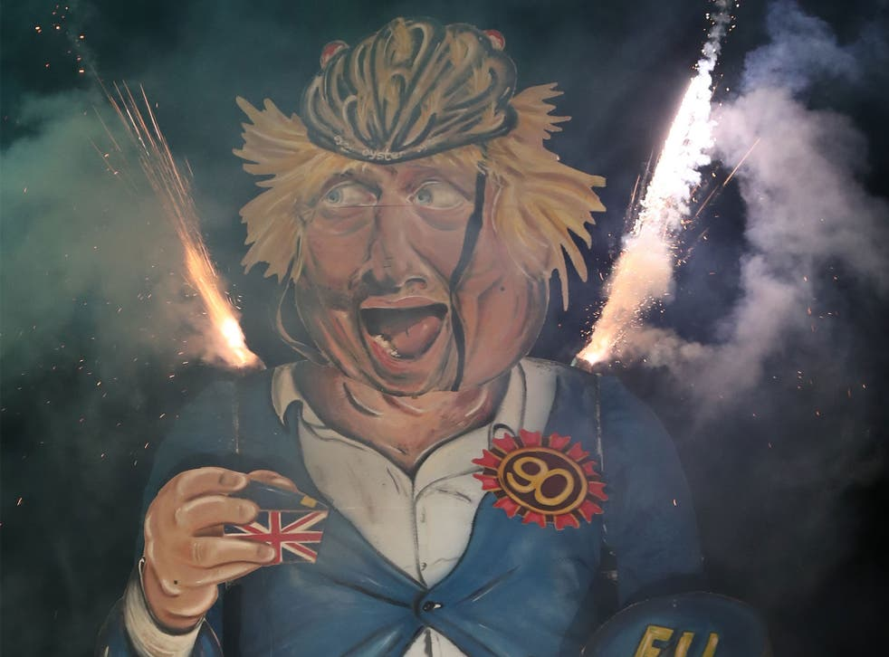 The controversy took place at the Edenbridge bonfire event, which this year saw an effigy of Boris Johnson burned