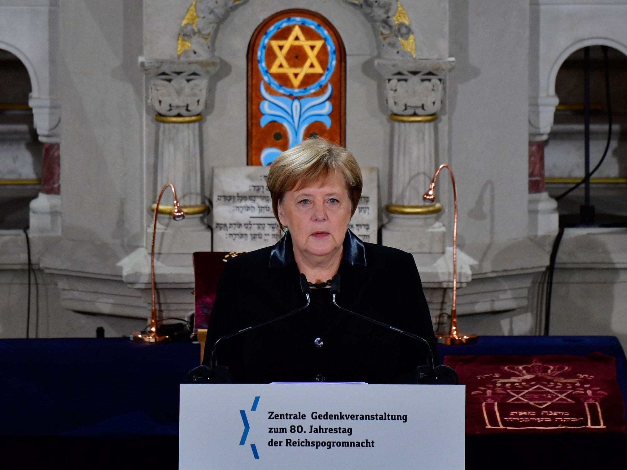 Angela Merkel addresses Kristallnacht remembrance ceremony at Berlin synagogue