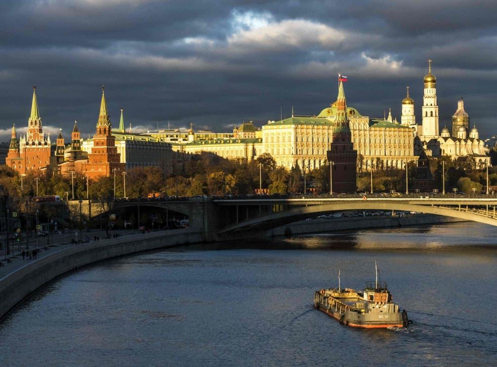 Tthe Kremlin at sunset in Moscow