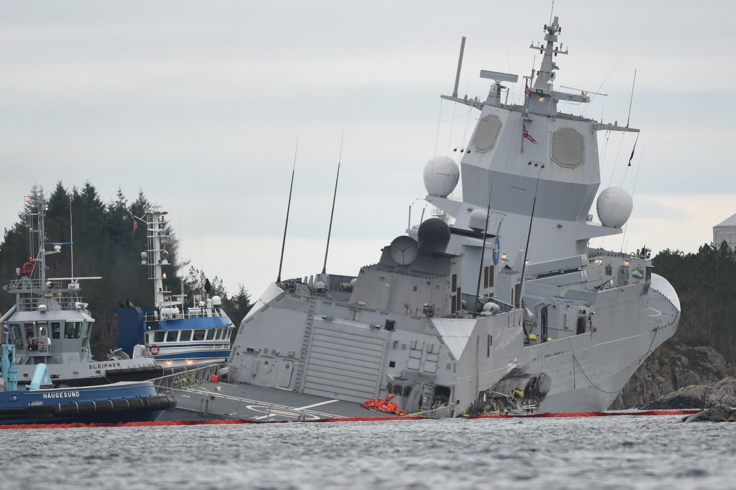 Warship at risk of sinking to bottom of Norwegian fjord