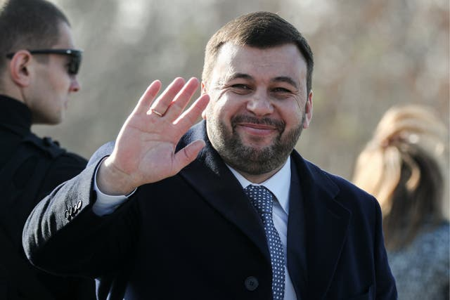 The acting head of the Donetsk People's Republic, Denis Pushilin at a ceremony to inaugurate a bridge on the M04 motorway connecting the cities of Znamenka, Lugansk, and Izvarino, in the town of Yenakievo