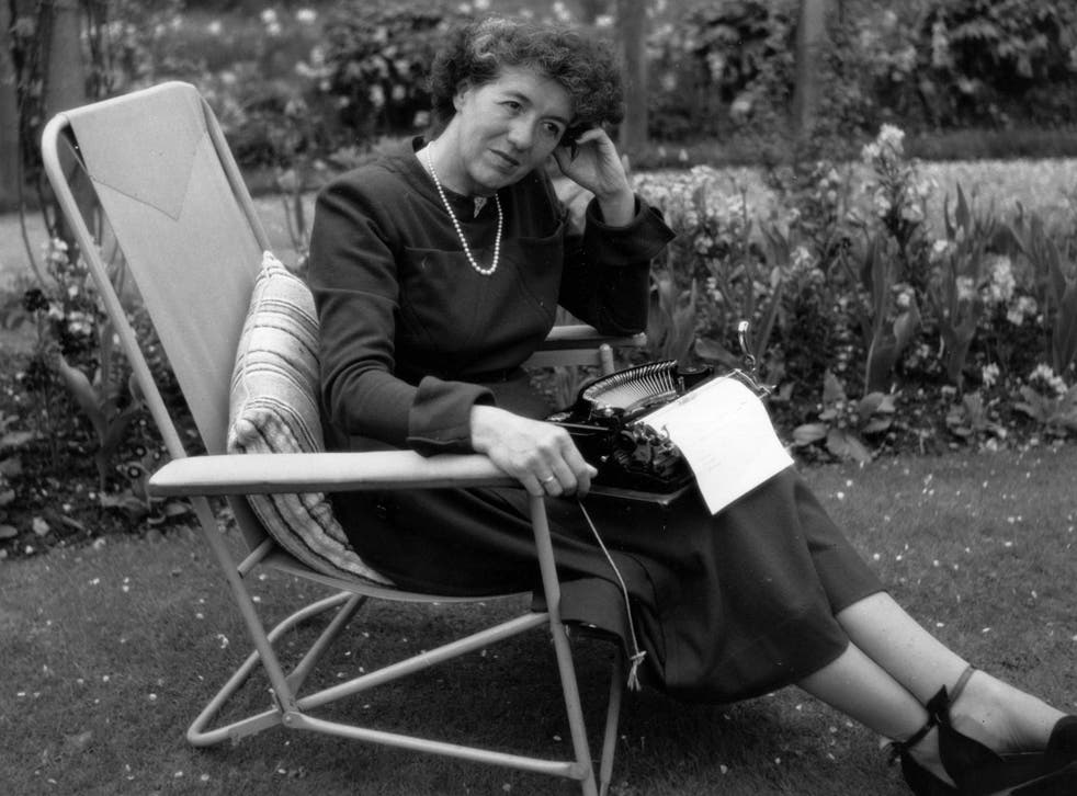 Children's writer Enid Blyton sitting in her garden in Beaconsfield, Buckinghamshire, in 1949
