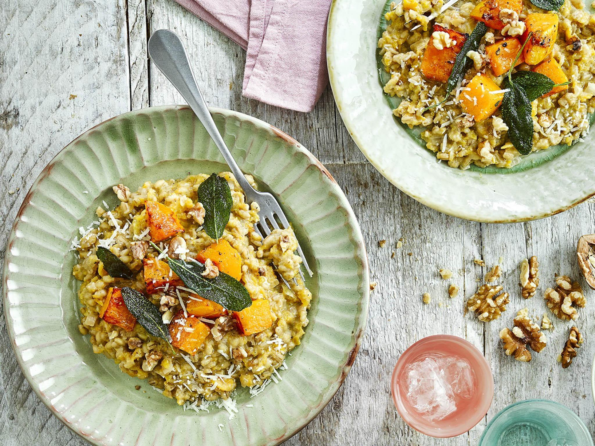 How to make butternut squash and barley risotto with toasted walnuts