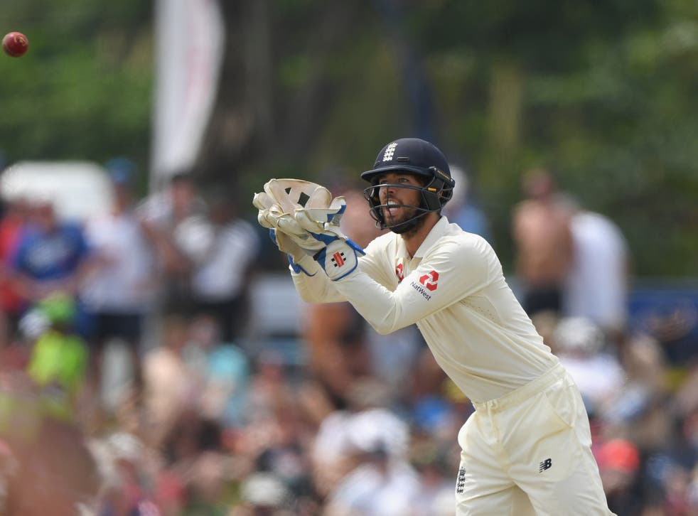 England wicket keeper Ben Foakes in action on his debut