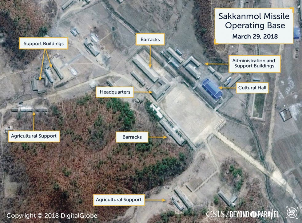 A Digital Globe satellite image shows what CSIS reports to be an undeclared missile operating base at Sakkanmol, North Korea