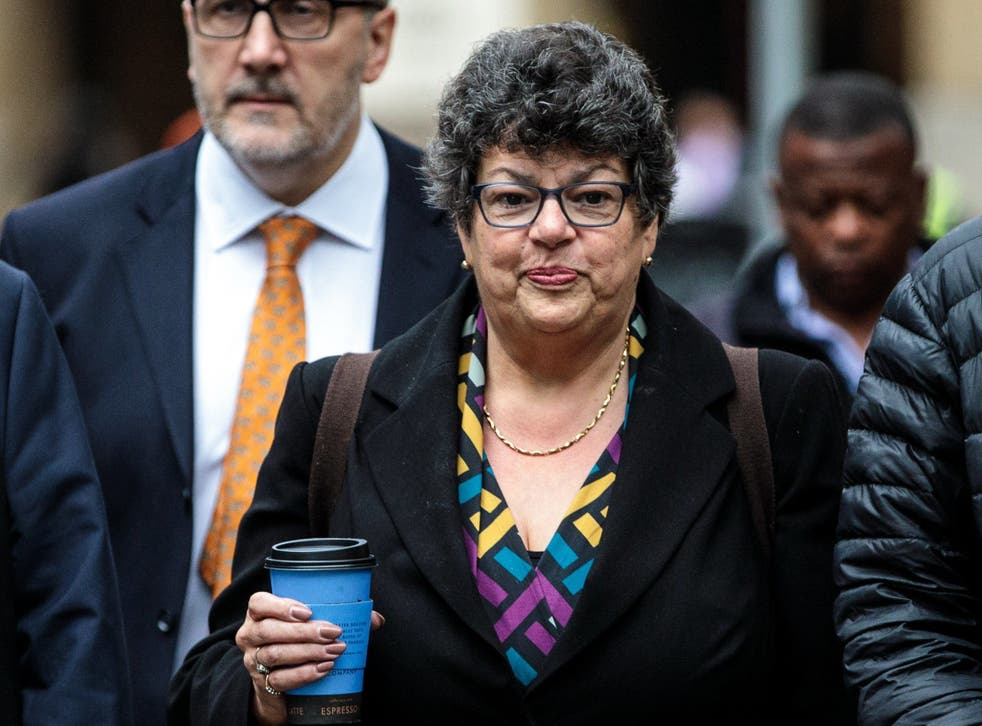 Conservative Party activist Marion Little arrives at Southwark Crown Court accused of three counts of intentionally encouraging or assisting an offence on 17 October 2018 (Jack Taylor /
